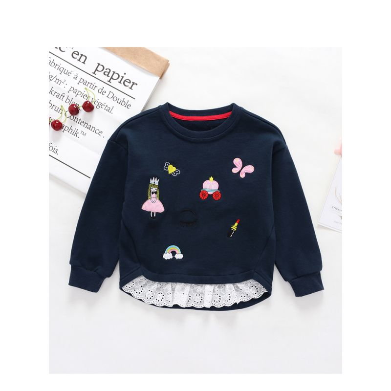 Rainbow Princess Embroidery Splicing Long Sleeve Toddler Girls Cotton Top
