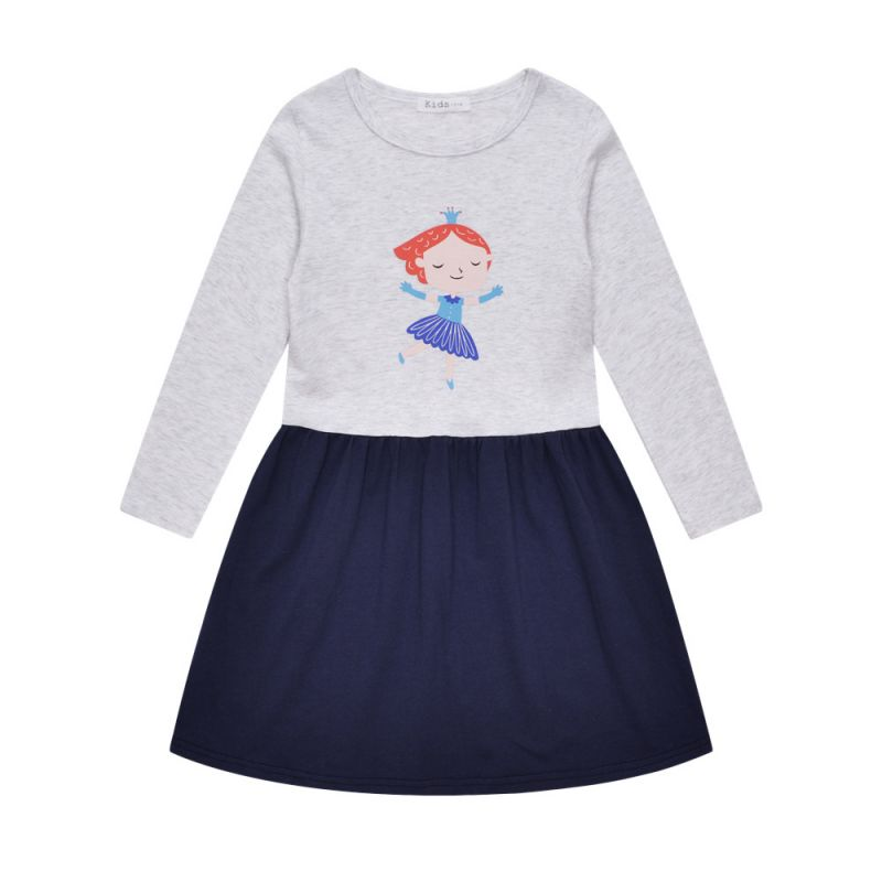 Fall Cartoon Printed Cotton One Piece Dress Long Sleeve  for Schoolchildren Girls