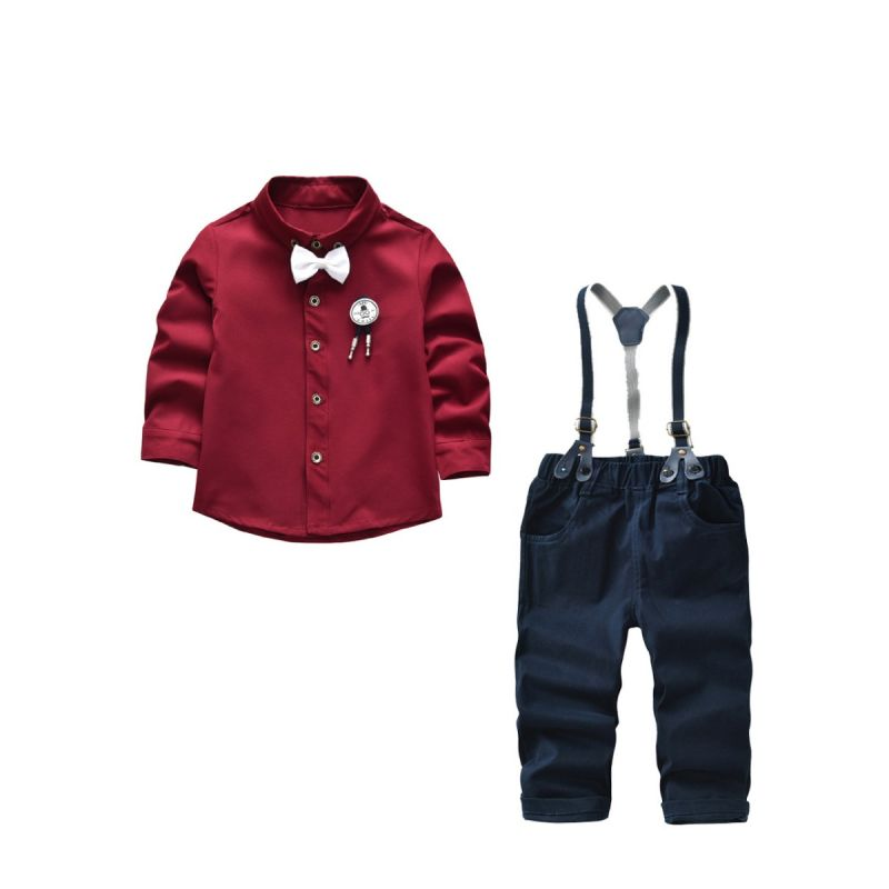 Trendy 4-Piece Toddler School Boys Clothes Outfits Set White Bow Shirt with Pocket + Adjustable Shoulder Straps Pants