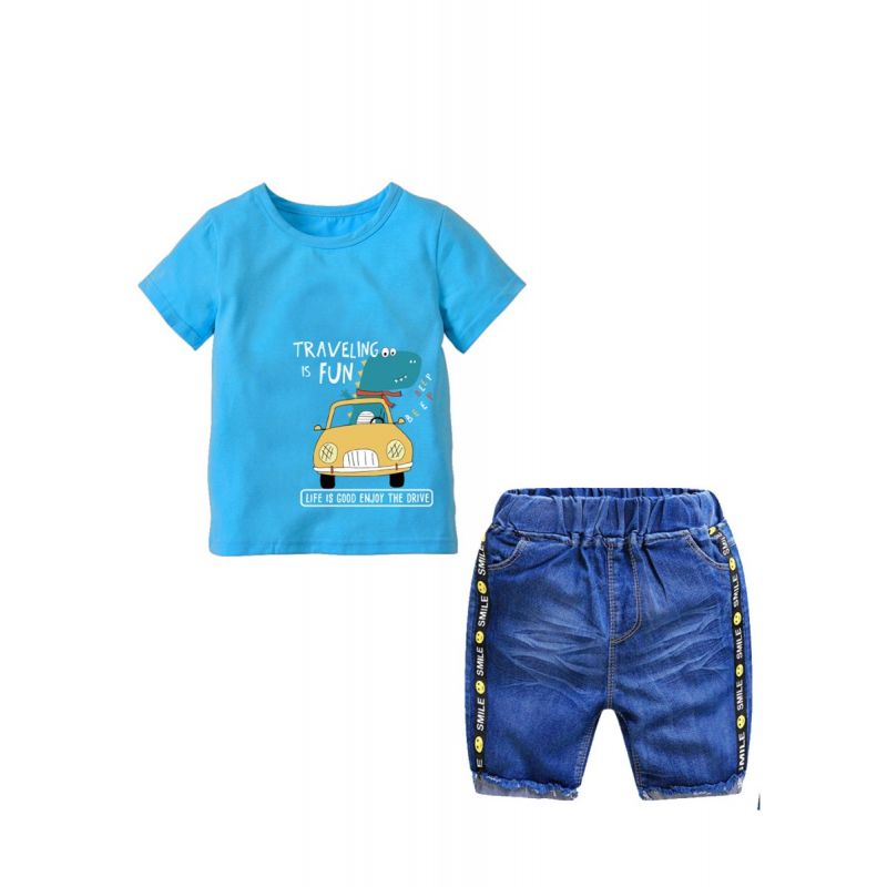 2-Piece Summer Cute Cartoon Printed Blue T-shirt Top and Elastic Waist Short Pants Jeans Set Kids Boys Clothing Set