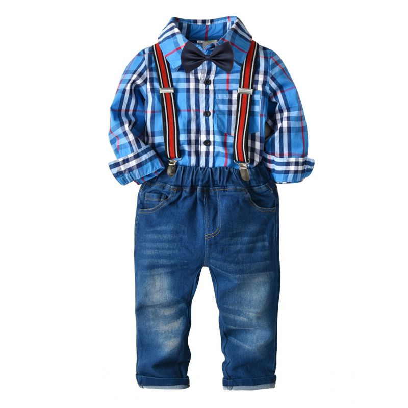 4-piece Gingham Long Sleeve Bowtie Shirt Top and Adjustable Shoulder Straps Elastic Waist Denim Trousers Set for Toddler Preschool Boys Kids Clothes Set