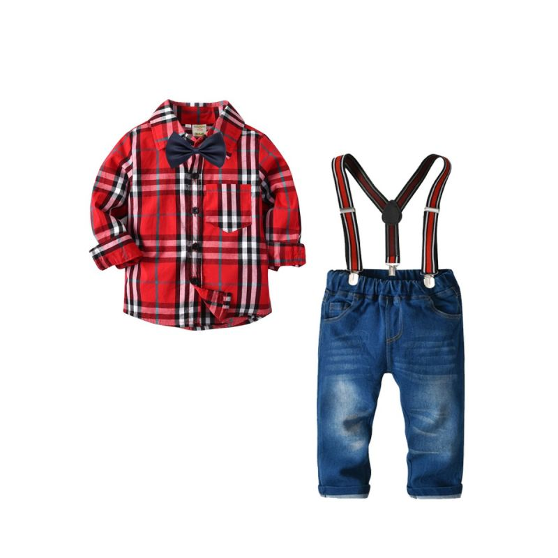 Fashion 4-piece Plaid Long Sleeve Bow Shirt Top and Adjustable Shoulder Straps Elastic Waist Denim Pants Set Wedding Children Outfits for Toddler Preschool Boys