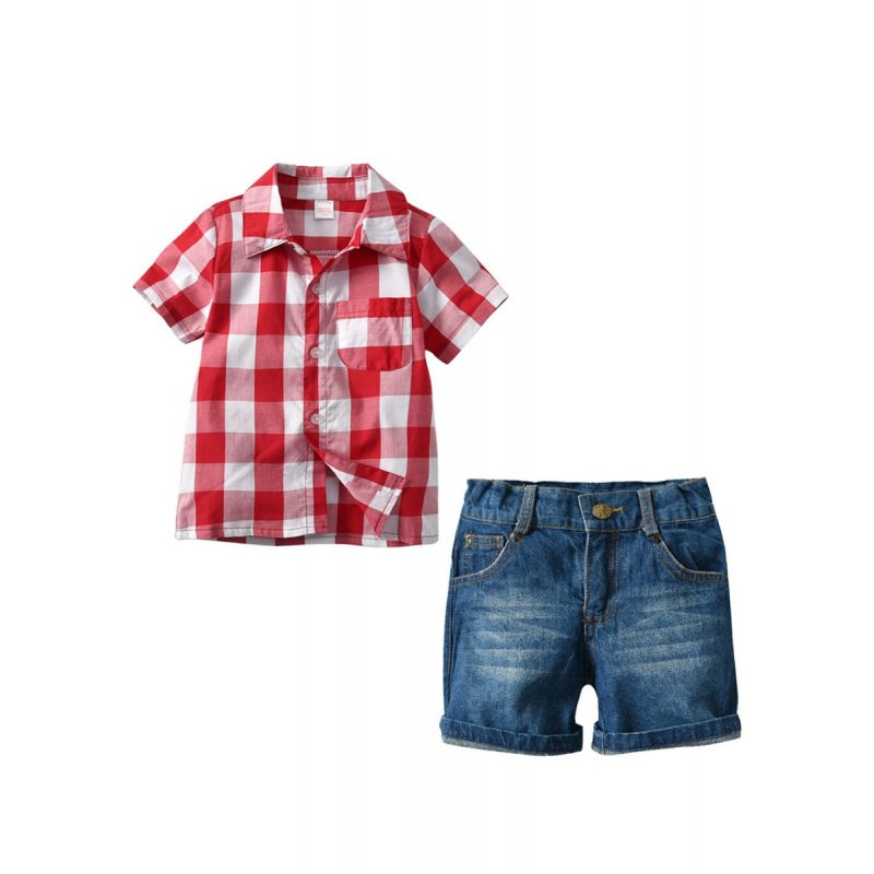 2-Piece Short Sleeve Gingham Shirt Top and Short Denim Pants Trousers Set  Toddler Big Boys Summer Outfits