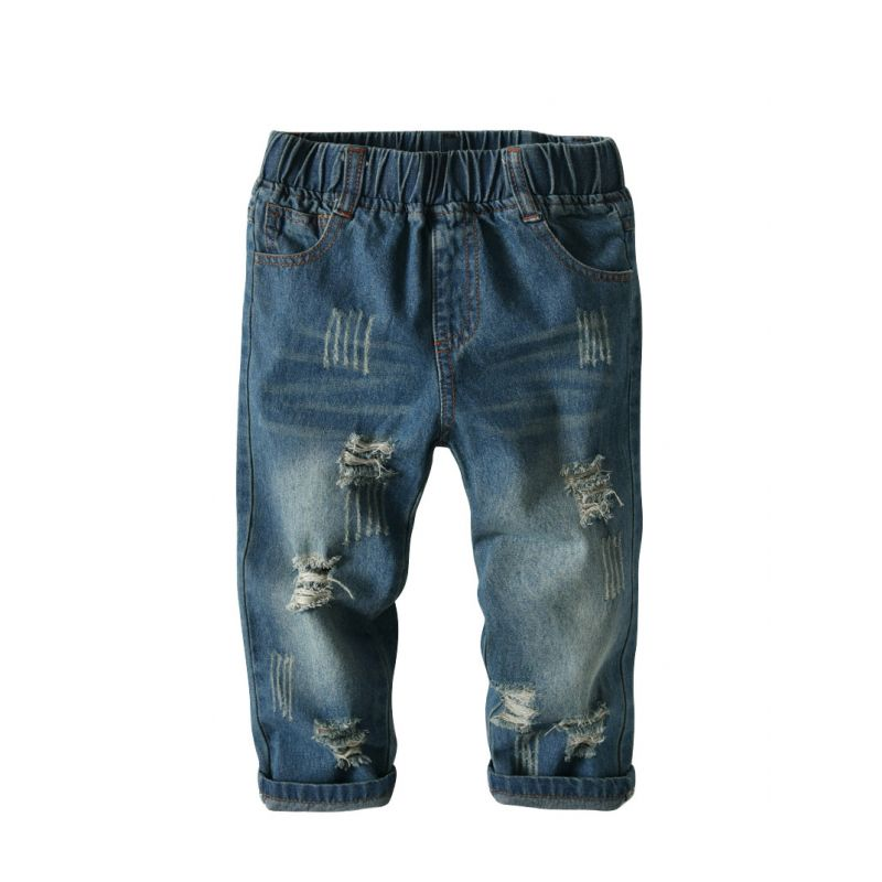 Fashion Elastic Waist Ripped Jeans Long Trousers Casual Pants for Toddler Big Boys