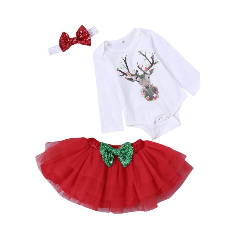 aeca1808dc3 Christmas 3pcs Toddler Kids Baby Girls Clothes Outfit Set Cute Headband and  Deer Print White Long