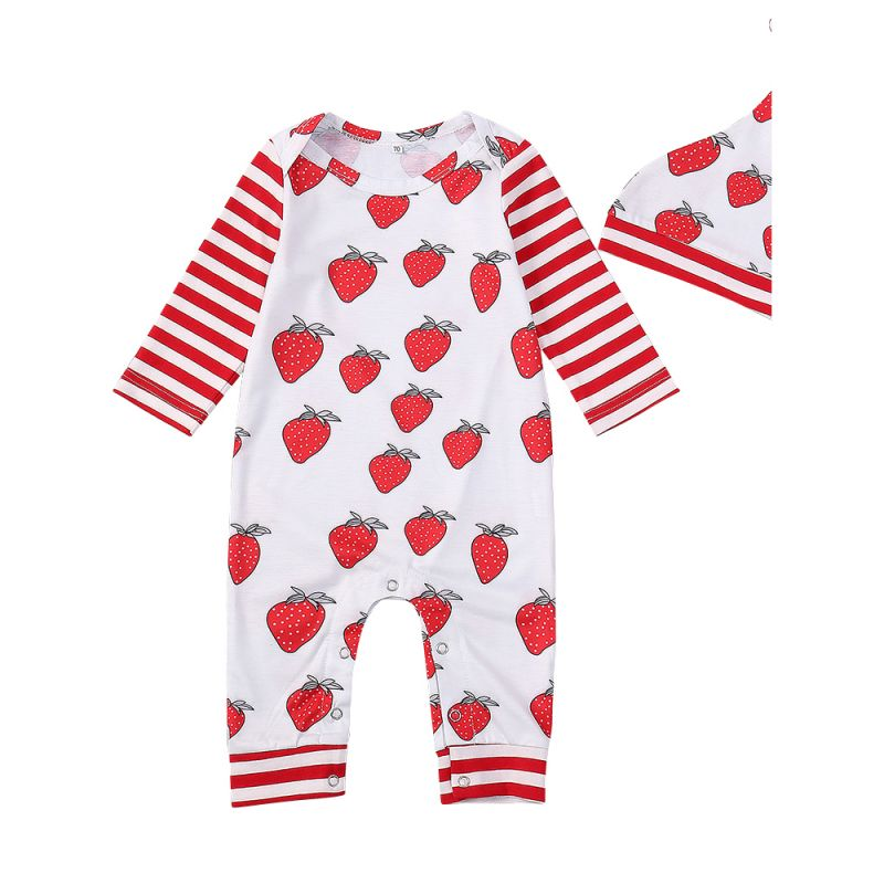 a96ab6307 Spring 2pcs Kids Romper Set Red Striped Strawberry Long Sleeve Onesie  Jumpsuit with a Cute Hat