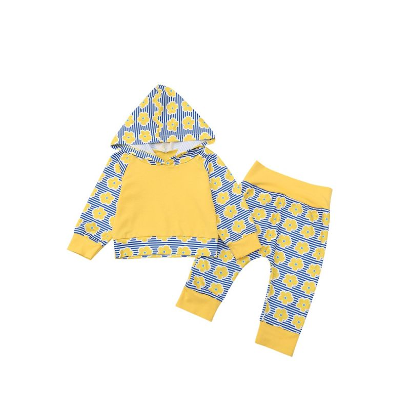 Casual Toddlers Clothing Set Flower Striped Hoodie Warm Top Pullover and Long Trousers for Fall