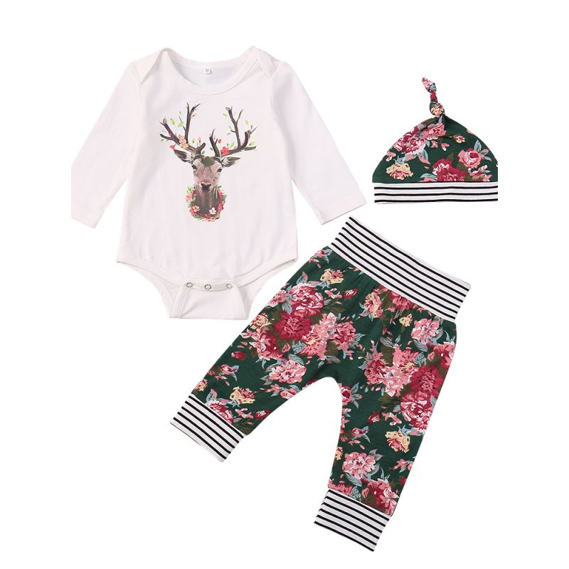 f0c469be9b4 Stylish 3pcs Baby Toddler Girls Clothes Outfit Set Flower Hat and Deer  Print White Long Sleeve