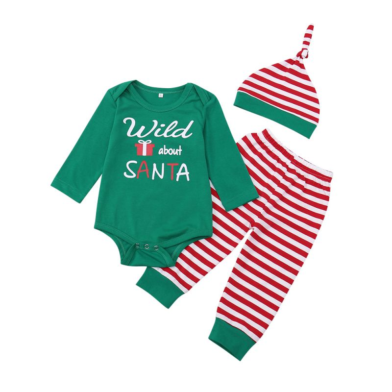 e8ae343dc Cute Xmas Baby Clothes Set Striped Hat and Wild about Santa Print Green  Long Sleeve Romper