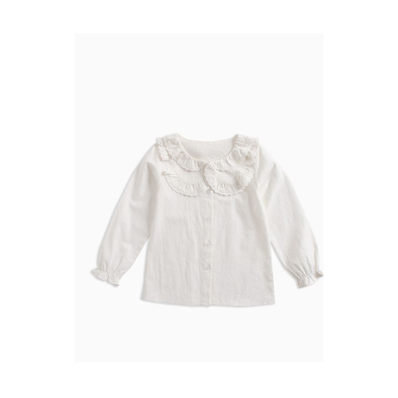 Fall Elegant White Ruffled Collar T-shirt Top Blouse with Buttons Long Sleeve for Big Girls