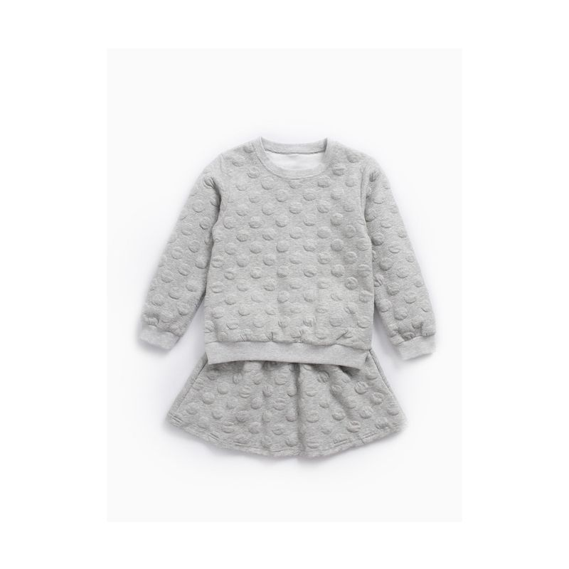 Winter 2-piece Toddler School Kids Girls Sportswear Outfit Set Special Dots Long Sleeve Pullover Top and Elastic Waist Skirt