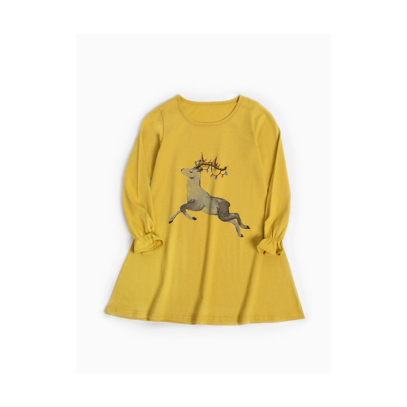 Casual Deer Print Long Sleeve Cotton One Piece Dress O-Neck for Toddler School Kids Girls