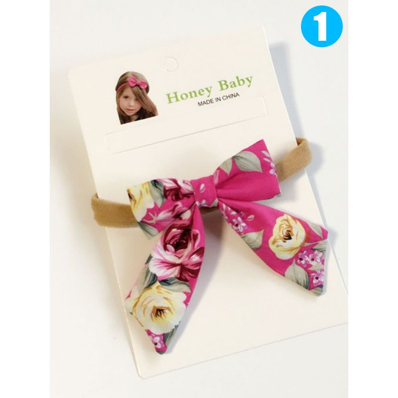 Floral Print Cotton Cloth Bowknot Headband Toddler Girls Hairband Hair Clasp