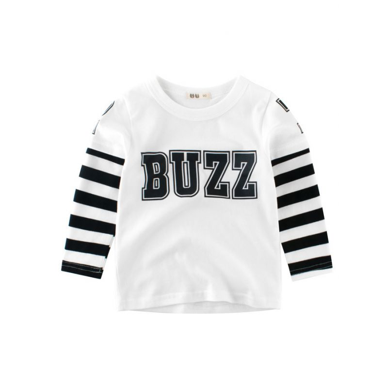 9607cd6b0e Buzz Print Striped Long Sleeve Pullover T-Shirt Fall and Spring Children  Casual Clothing