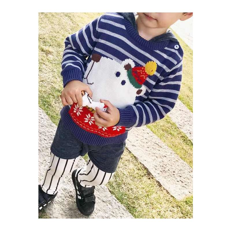 5PCS/PACK Xmas Sweater Bear Knitted Striped Jumper with Classic Crew Neck for Boys -Pattern 1-1 Unit