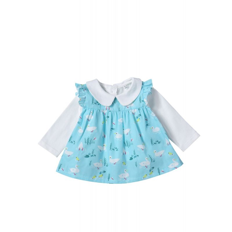 2-Piece Toddler Baby Girls Clothing Set Outfit White Doll Collar Shirt Top and Short Sleeve Duck Print Baby Onesie Dress Romper