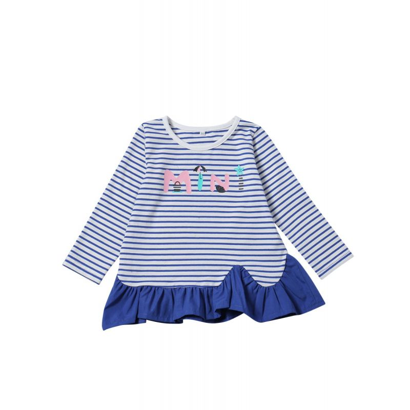 Mini Letter Print Striped Ruffled Infant Toddler Dress Autumn Casual Kids Dress