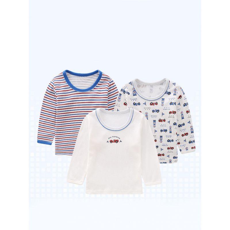 3PCS/SIZE/PACK Casual Kids T-shirt Top Long Sleeve Cartoon Striped Print Pullover Children's Fall Sportswear