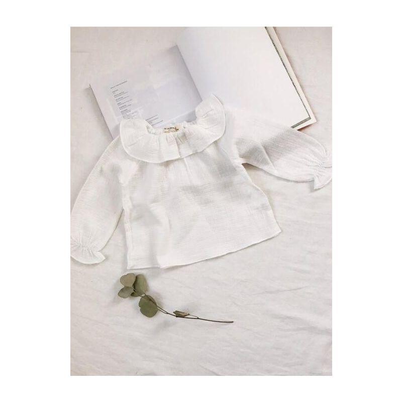 Cute Ruffled Collar T-shirt Top Baby Toddler Girls Linen Shirt Long Sleeve
