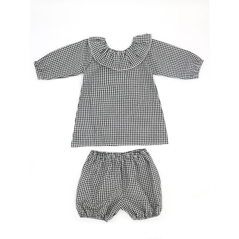 6SETS/PACK (2PCS/SET) Ruffled Neck Black Plaid T-shirt Pullover and Elastic Waist Short Pants
