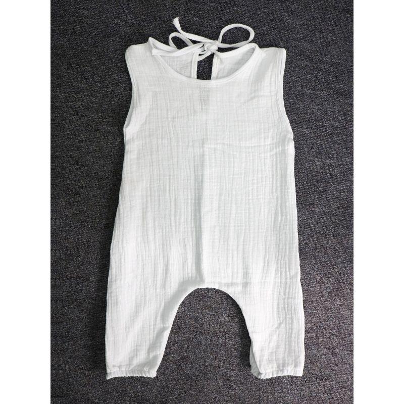 Sleeveless Summer Linen Rompers Baby Toddler Girls Bodysuit Onesie Solid Color