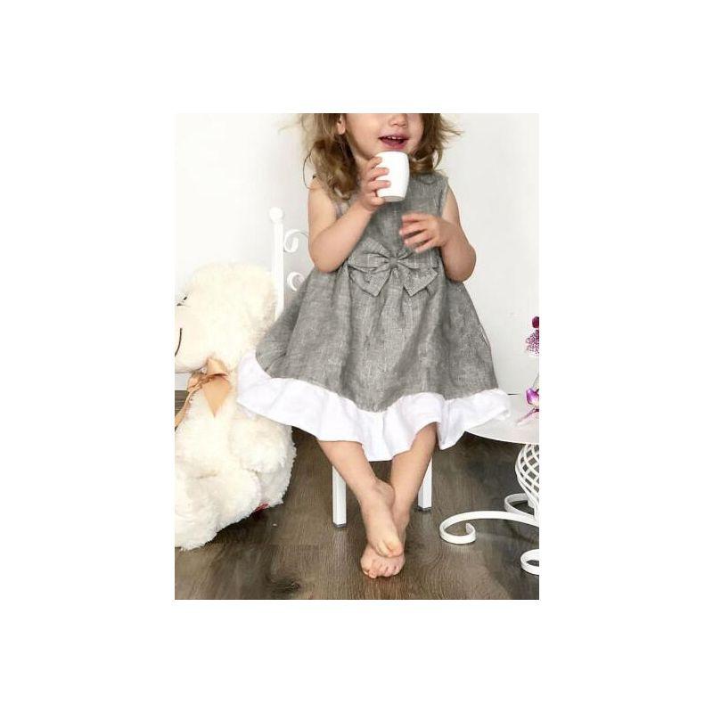 6PCS/PACK Sleeveless Bow Linen Spanish Summer Dress Spanish Baby Toddler Girl Dress Clothes
