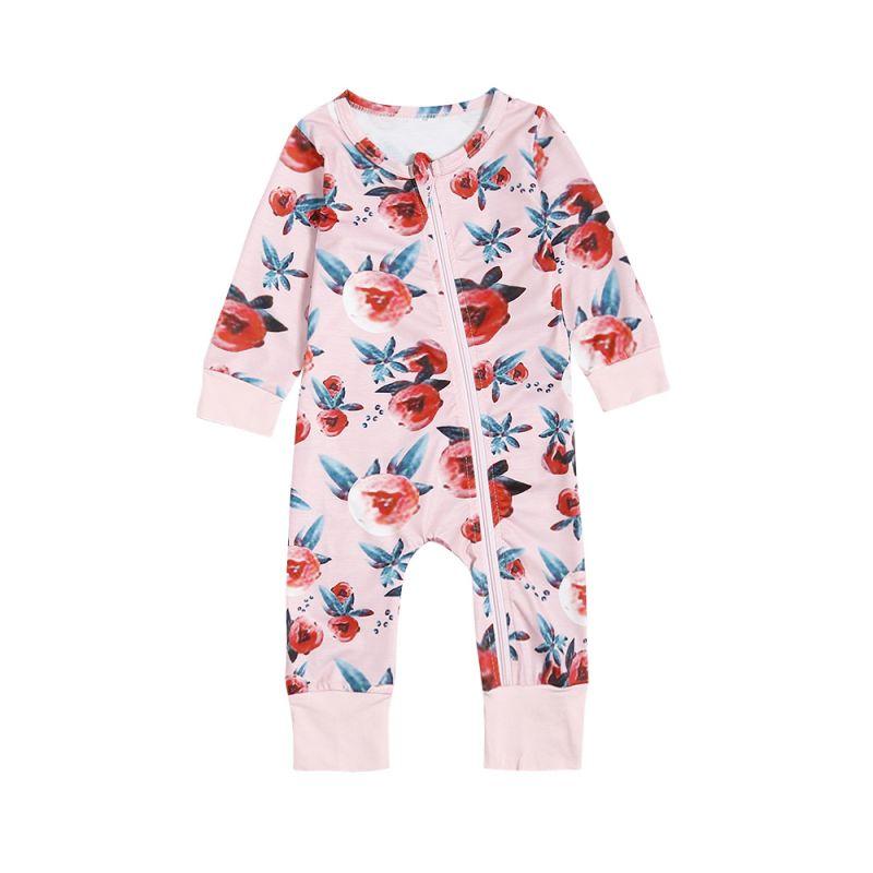 2b7b648cca1c Unique Floral Zip Over Baby Romper Onesie Long Sleeve Kids Pajama Jumpsuit  for Winter