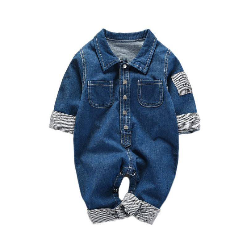 Fashion Buttoned Demin Infant Bodysuit Rompers Comfortable Winter Casual Long Sleeve Onesie Chest Pocket