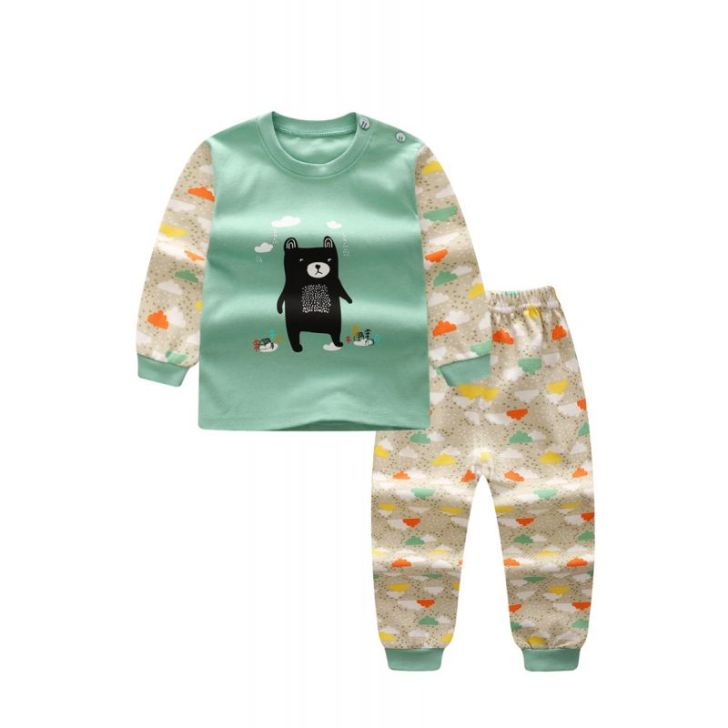 Cute 2-piece Baby Toddler Unisex Winter Clothes Set Black Bear Print Color Block Pullover Top Long Sleeve and Clouds Elastic Waist Long Pants