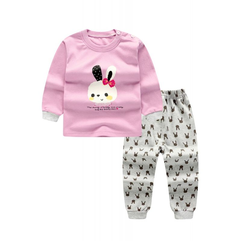 2-Piece Winter Children Clothes Set Baby Girl Cony Print Tee Top and Rabbit All Over Print Leggings Pants Kids Pajamas for Winter