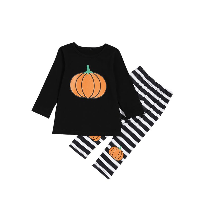 2-Piece Halloween Costume Baby Boys Girls Kids Homewear Set Long Sleeve Color Pumpkin Pullover Top and Striped Long Pants Children Winter Clothing Outfits