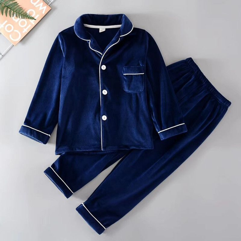 2-Piece Little Big Kids Classy Blue Velvet Pajamas Sleepwear Set Button Top and Long Trousers