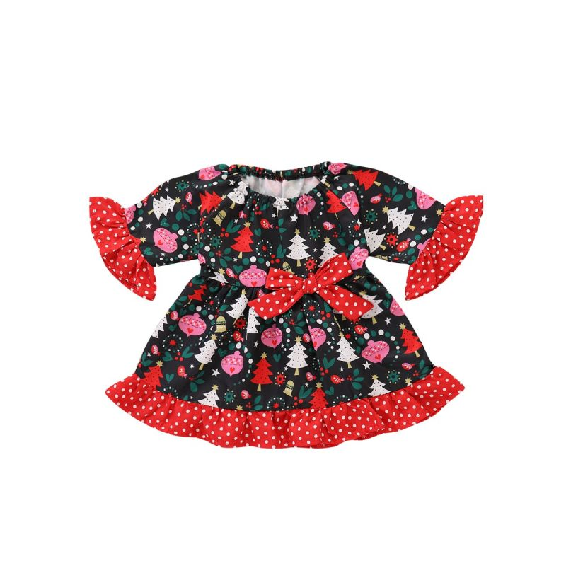 Fashion Baby Toddler Big Girl Festival Dress Costume with White Dots Trumpet Sleeve Cute Bow on Waist Flouncing Trim for Winter