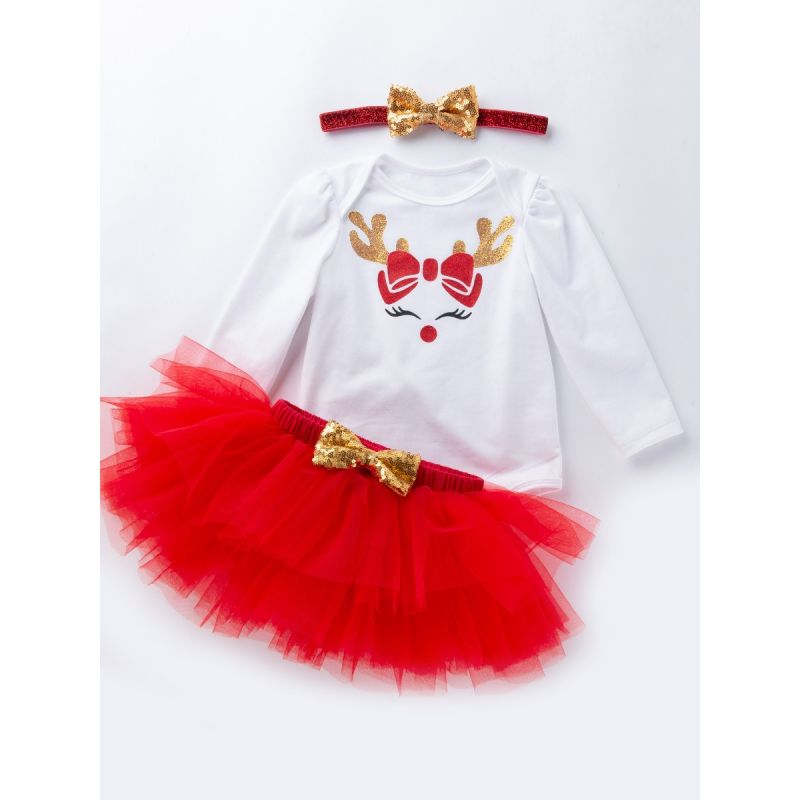 3PCS Shiny Deer Head Print Romper and Red Tulle Smash Cake Skirt and Sequin Bowknow Hair Band Set Kids Baby Girls Christmas Outfit Clothes
