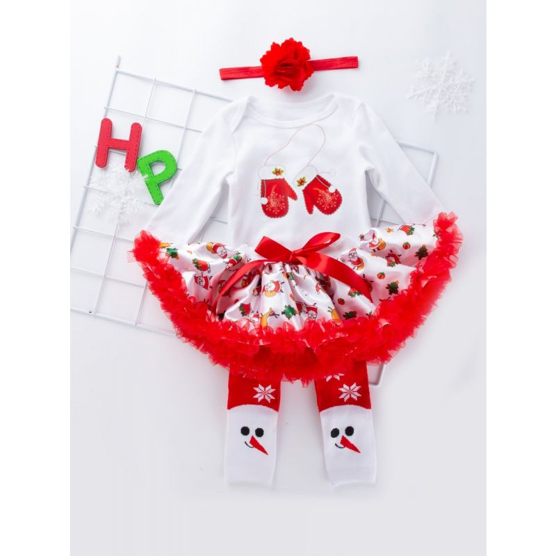 e841bd114d2e 4PCS Baby Girls Xmas Romper Set Red Big Flower Hair Band and Christmas  Gloves Print Bodysuit