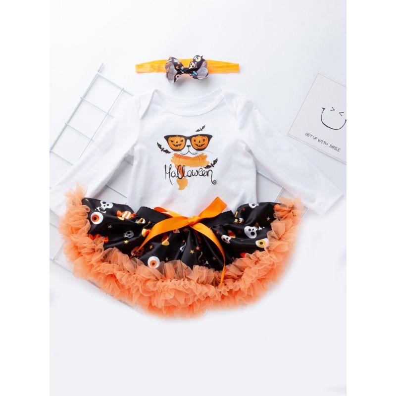 653ede1934ea7 3PCS Baby Toddler Girls Halloween Clothing Set Pumpking Lamp Bat S Skull  Candy Print Onesie Bodysuit