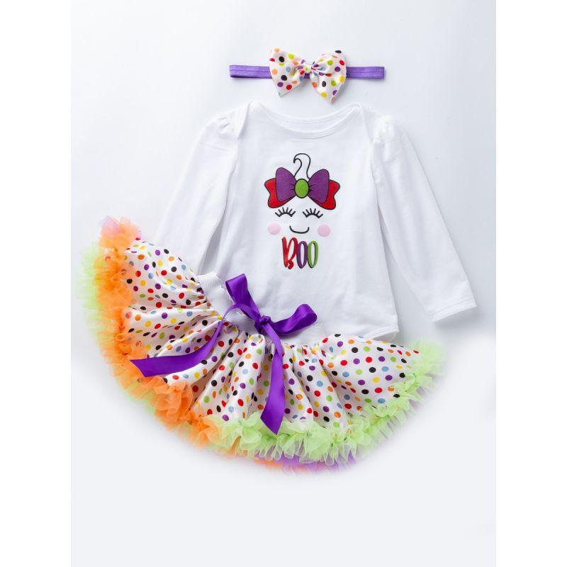 3PCS Infant Toddlers Kids Princess Bodysuit Romper Purple Bow Tutu Polka Dots Ruffled Dress With Headband Photo Shoot Costume