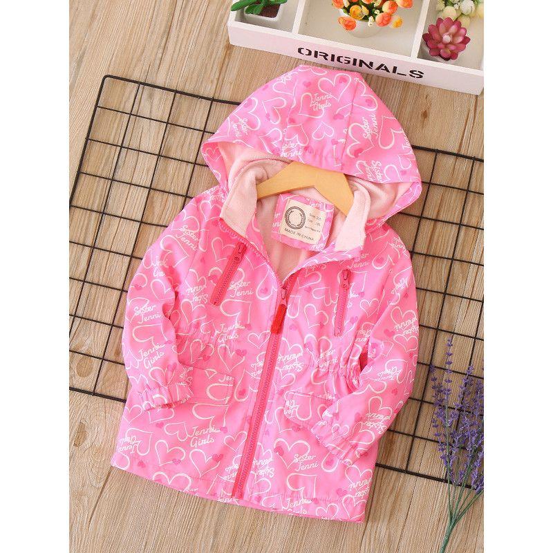Trendy Love Heart Print Girls Kids Hooded Winter Jacket Coat with Zip Chest Pockets Camping Mountain Fleece Lined Windproof Jacket Outdoor
