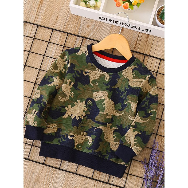Cool Camouflage Dinosaur Print  Pullover Tee Autumn Winter Kids Boys Cotton Sweatshirt Tops