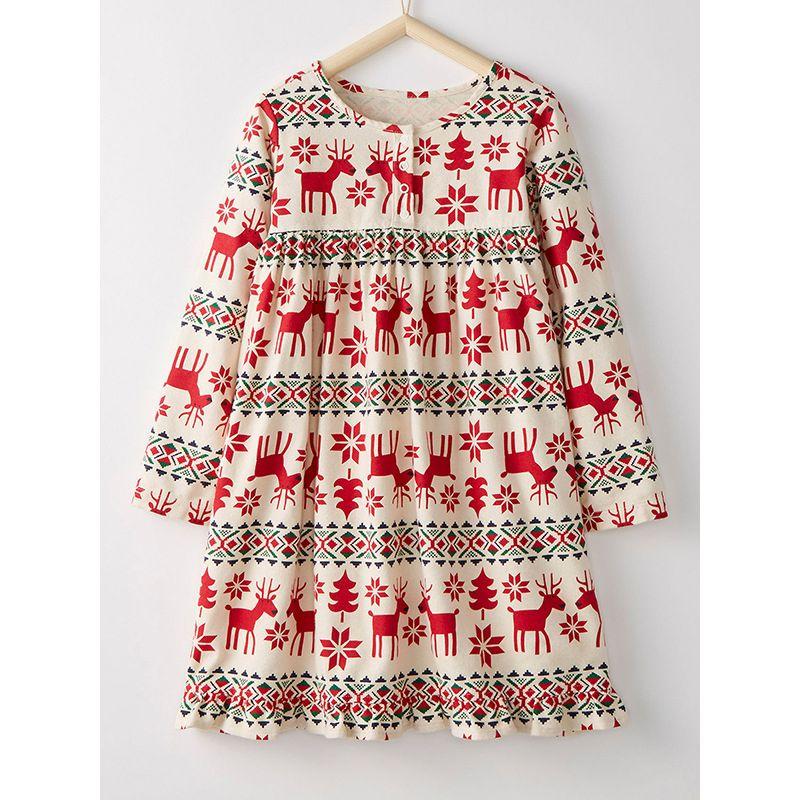 Cute Christmas Deer Tree Snowflake Print One Piece Dress for Toddler Big Girls Xmas Kids Costume