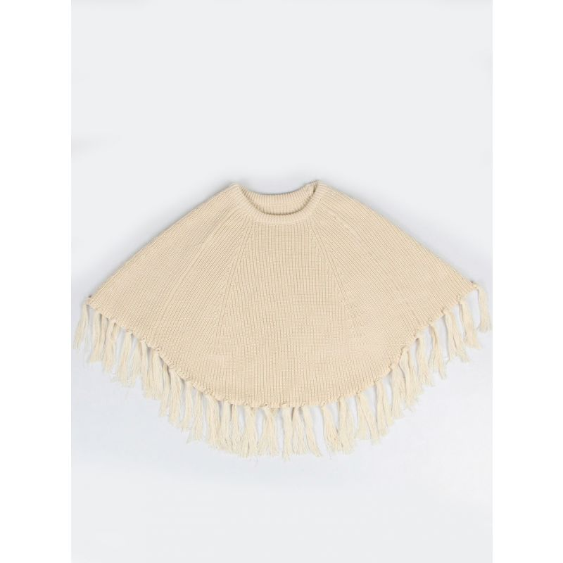 Stylish Winter Tassels Knitted Poncho Cape for Toddler Big Girls Apricot/Grey