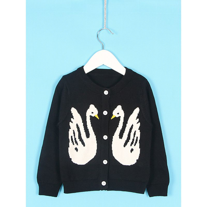 Winter Baby Toddler Swan Pattern Knitted Cardigan Sweater Crochet Coat Clothes