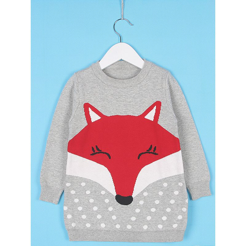 Cute Fox Pattern Knitted One Piece Dress Classic Crew Neck Baby Kids Winter Knitwear Frock