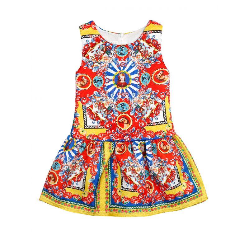 Classic Knight Horse Flower Bird Print Sleeveless Dress Back Zipper for Toddler Big Girls