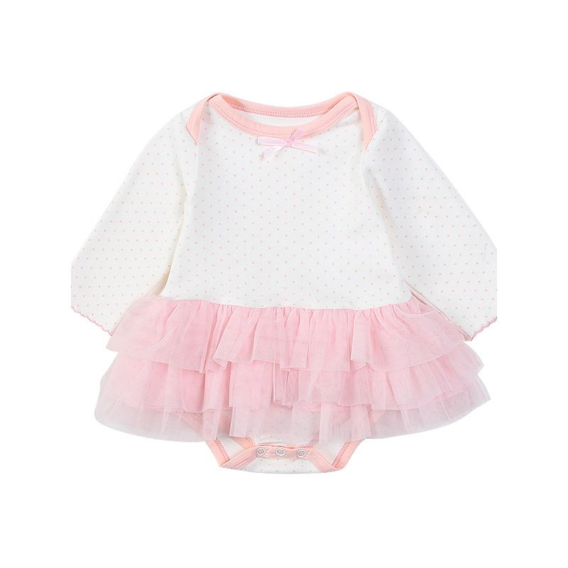 Cuddly Pink Polka Tutu Romper Baby Skirt Bodysuit with Small Bow for Winter