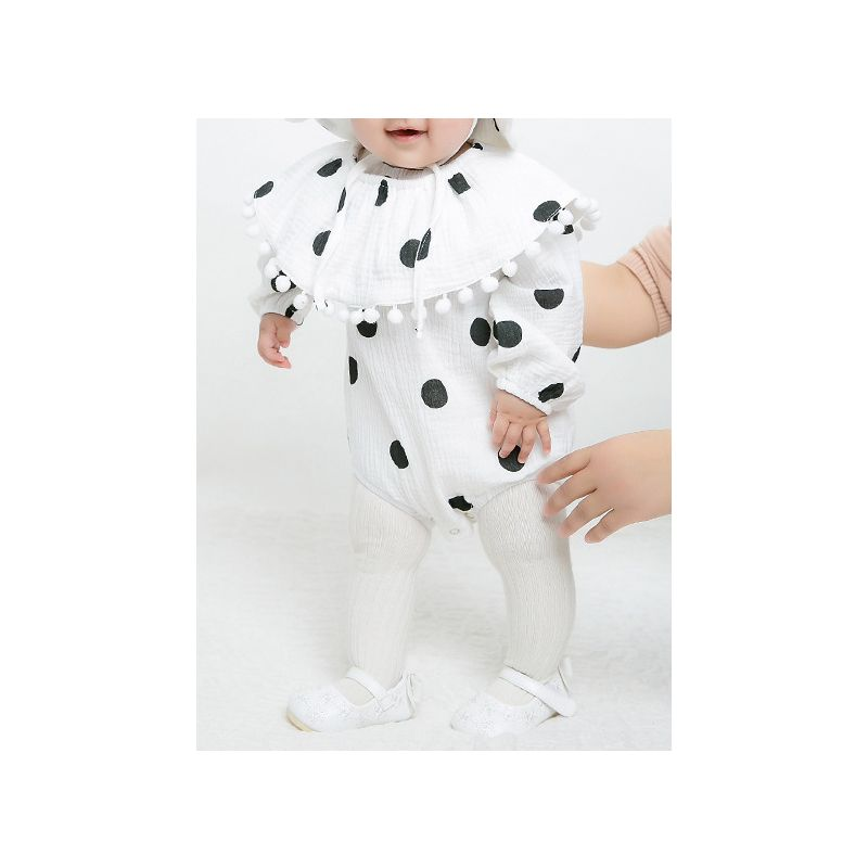 3PCS Black Polka Dots Print Baby Romper Tippet Hat Set Infant Cotton Onesie Outfit