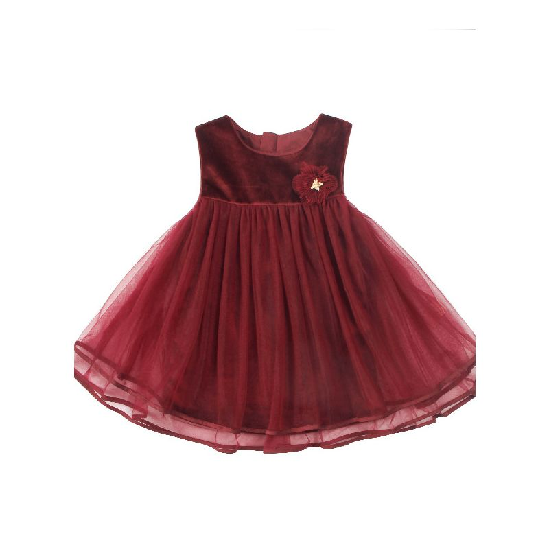 Formal Burgundy Red Princess Tulle Vest Dress with Flower Brooch Baby Toddler Big Girl Party Dress for Winter