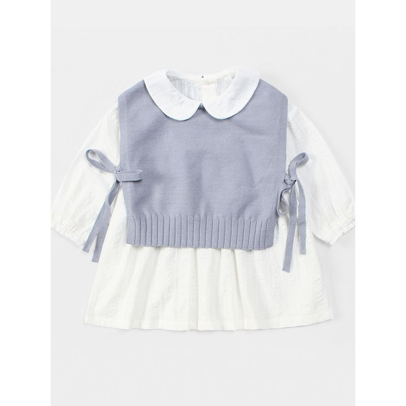 2PCS Winter T-shirt Set Outfit Side Banded Knitted Sleeveless T-shirt + Elegant White Peter Pan Collar Long Sleeve Shirt