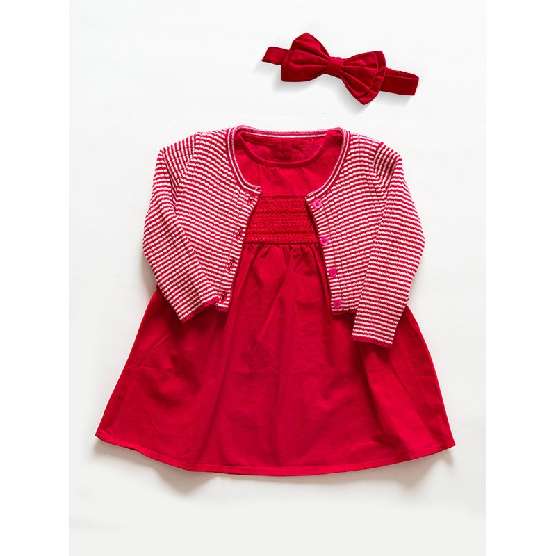 e15a5ebdc 3PCS Winter Party Cotton Cardingan Dress Set Red Big Bow Headband +White  and Red Striped
