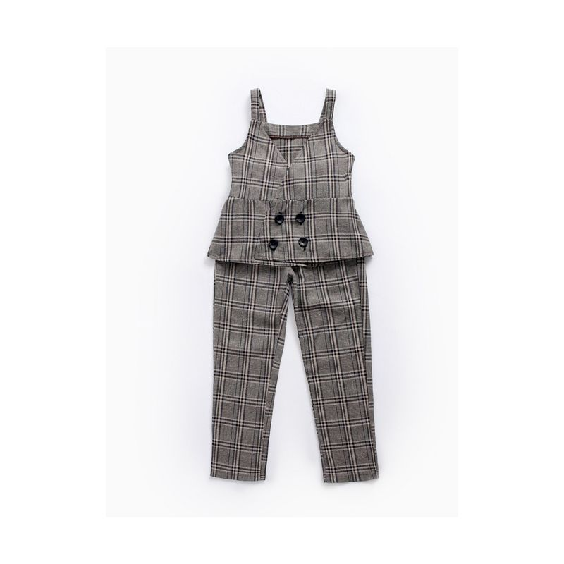 2PCS Fashion England Style Checked Suspender Suit Vest and Long Elastic Pants Set for Big Girl